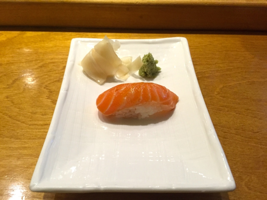 Zuke sake nigiri - Norwegian salmon, soy marinated