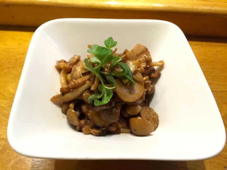Japanese mushrooms - enoki, shimeji, shiitake, maitake, eringi, citrus-sesame