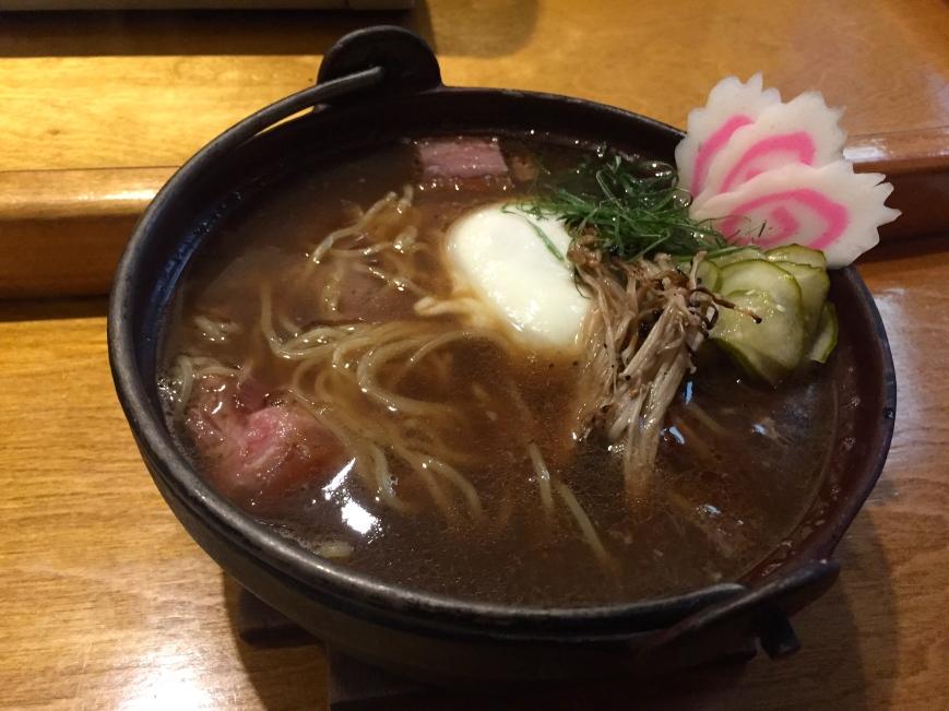 Arami ramen - pork belly, braised beef, house tsukemono, naruto, grilled enoki, egg