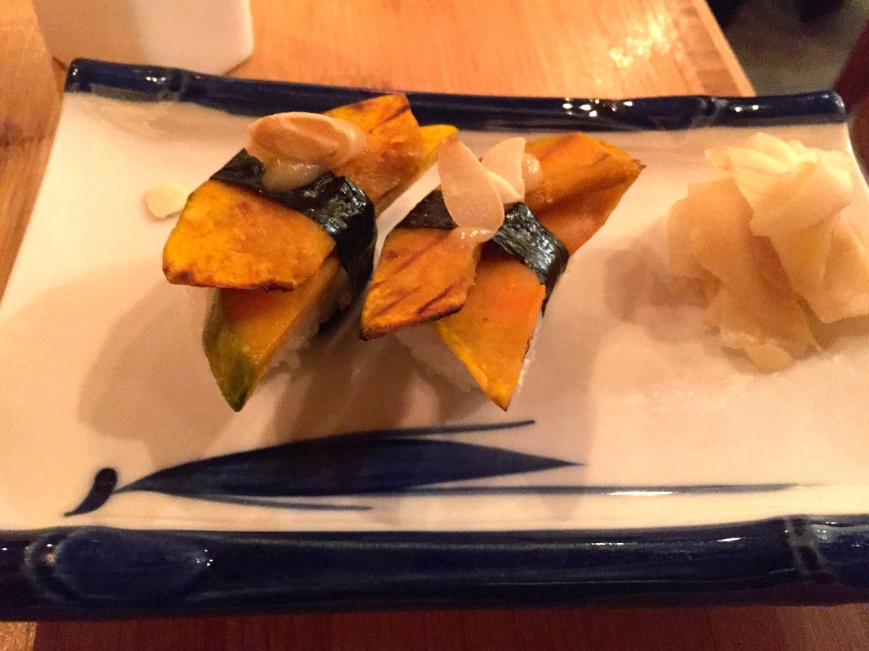 Kabocha nigiri - saikyo miso, white soy, honey, almonds