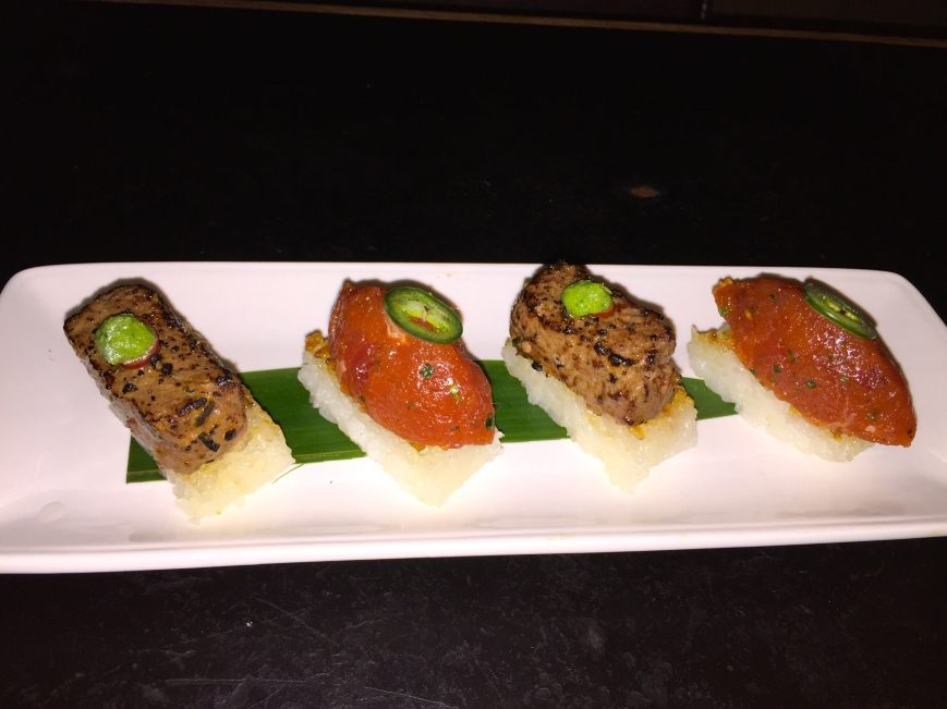 Signature Crispy Rice with Spicy Tuna and Seared Wagyu Tartare