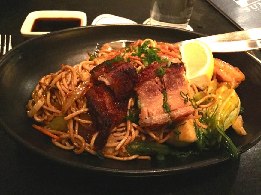 Pancit Canton  - crispy pork belly, lap cheong, shrimp,  egg noodles, carrots, cabbage, bok choy,  scallions, lemon cantonese sauce