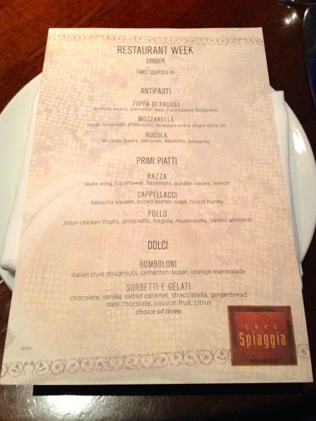 Cafe Spiaggia Restaurant Week menu