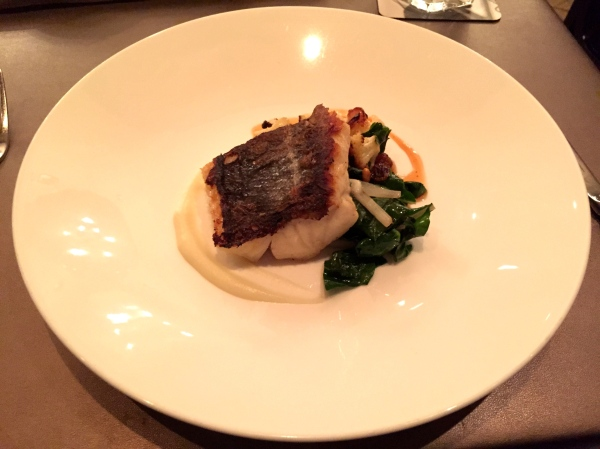 Cod - cauliflower, golden raisin-isot pepper chutney, pine nuts, swiss chard