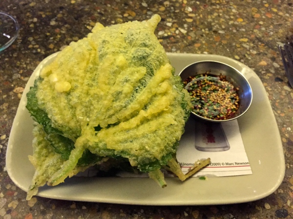 Crispy sesame leaves, bourbon barrel soy