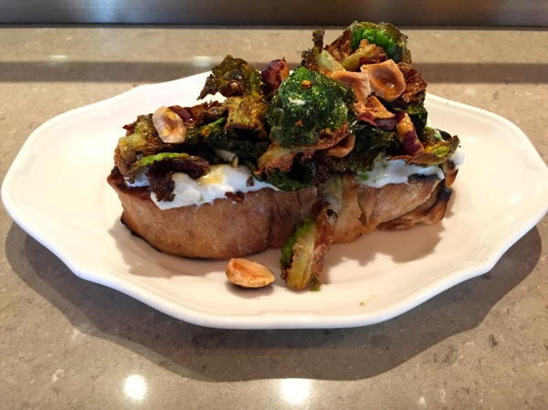 Brussels Sprout Bruschetta - Stracciatella Cheese, Lemon Honey, Trufflebert Hazelnuts ($14)
