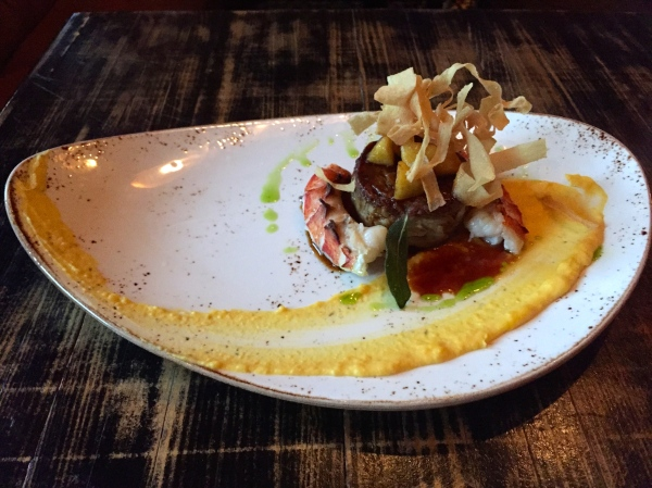 Two Tails - crisp pig tail, poached lobster tail, squash purée, glazed parsnips, fried sage ($21)