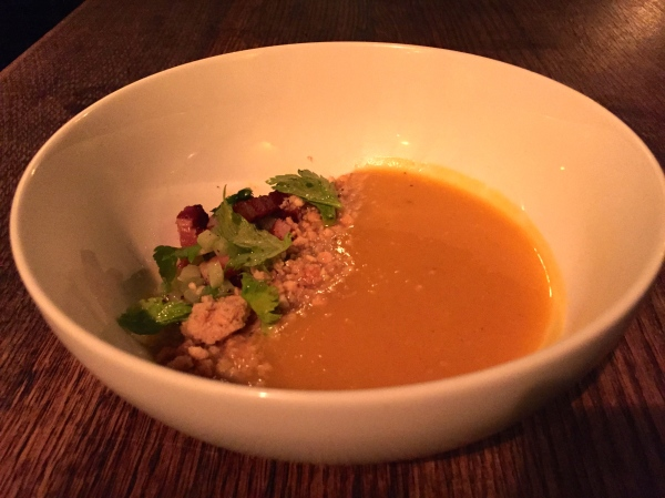Butternut Squash Soup - Smoked Bacon, Toasted Almond Streusel, Celery, Chili Oil