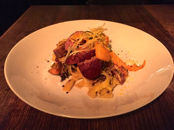 Duck Meatball, Smoked Duck Breast, Grilled Cabbage, Egg Noodles, Duck Yolk, Comte, Carrots